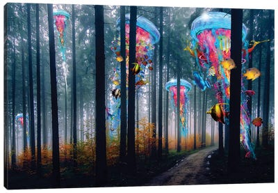 Forest Of Super Electric Jellyfish Canvas Art Print