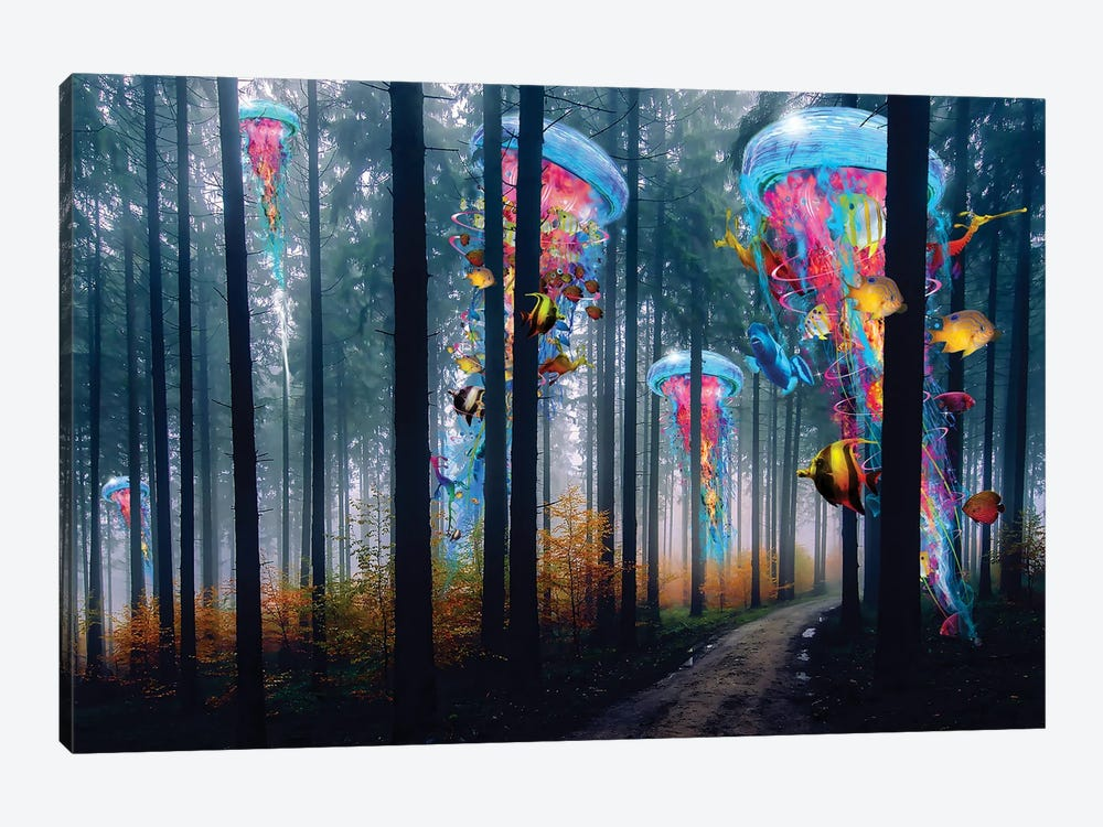 Forest Of Super Electric Jellyfish by David Loblaw 1-piece Canvas Wall Art
