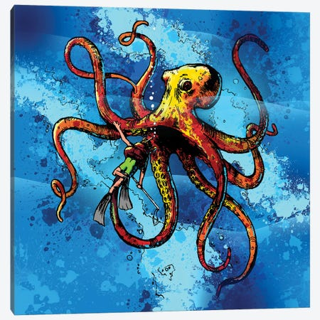 Octopus From The Deep Canvas Print #DLB42} by David Loblaw Canvas Print
