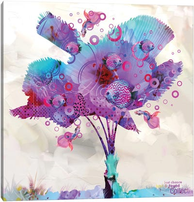 Palm Flower With Fish Canvas Art Print