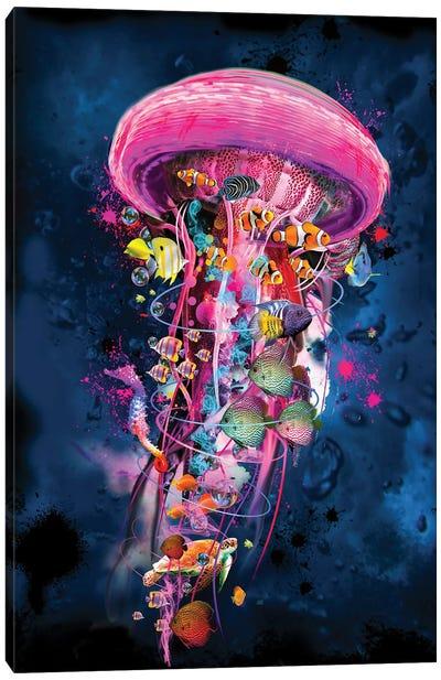 Pink Electric Jellyfish World Canvas Art Print