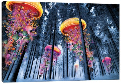 Forest Of Electric Jellyfish Winter Canvas Art Print