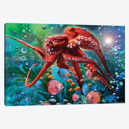 Red Octopus Canvas Print #DLB55} by David Loblaw Art Print