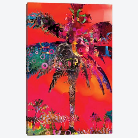 Red Palm With Type Canvas Print #DLB56} by David Loblaw Art Print