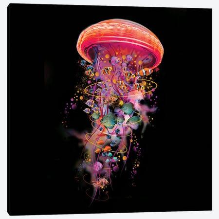 Electric Jellyfish World In Red Canvas Print #DLB59} by David Loblaw Canvas Art