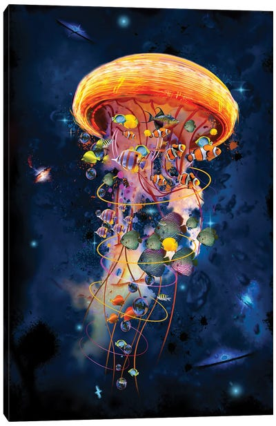 Electric Jellyfish Worlds Galaxys Canvas Art Print