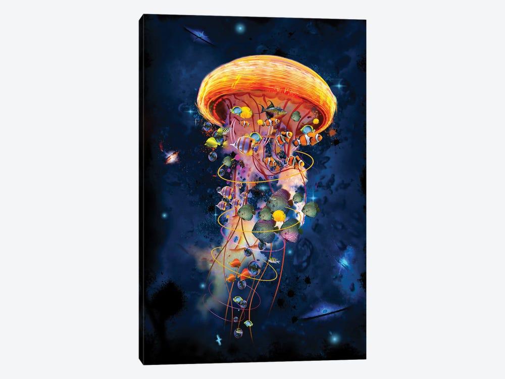 Electric Jellyfish Worlds Galaxys by David Loblaw 1-piece Canvas Art Print