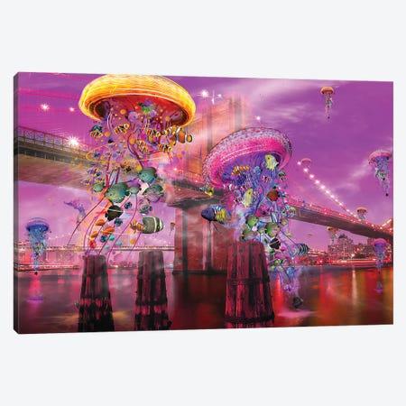 Electric Jellyfish Brooklyn Canvas Print #DLB61} by David Loblaw Canvas Art Print