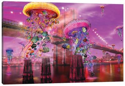 Electric Jellyfish Brooklyn Canvas Art Print