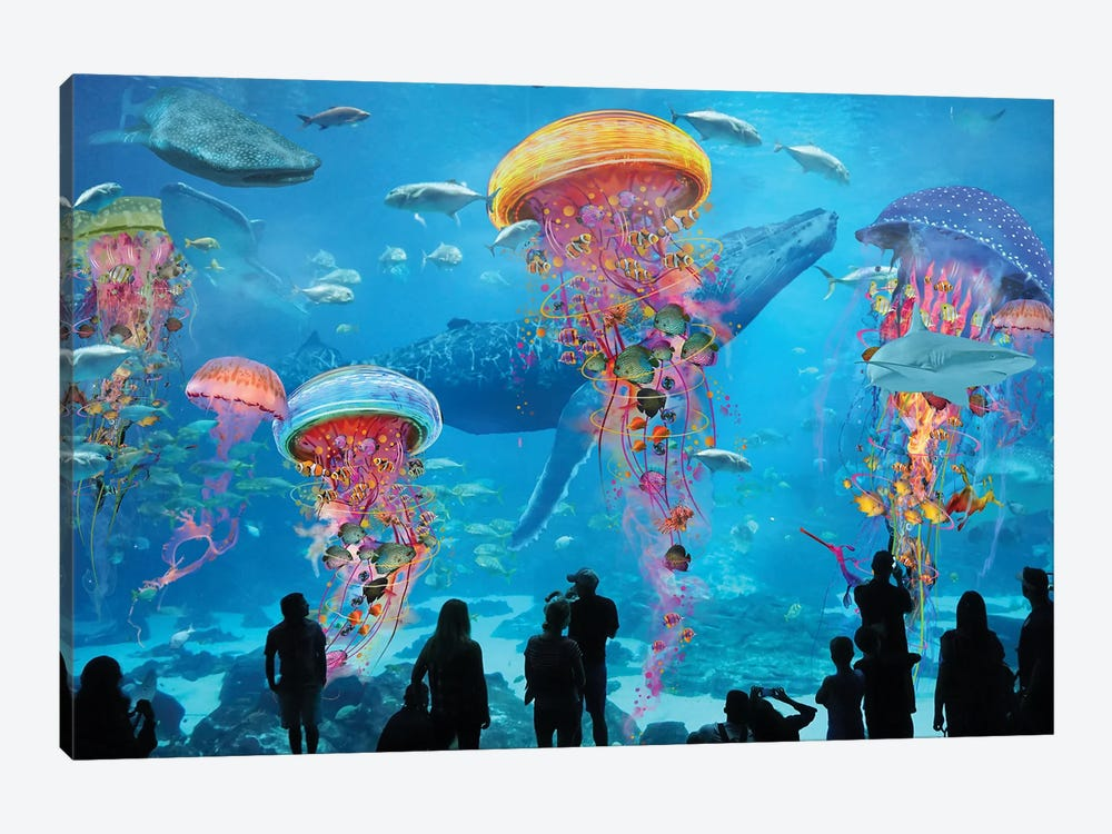 Super Electric Jellyfish Aquarium by David Loblaw 1-piece Canvas Art Print