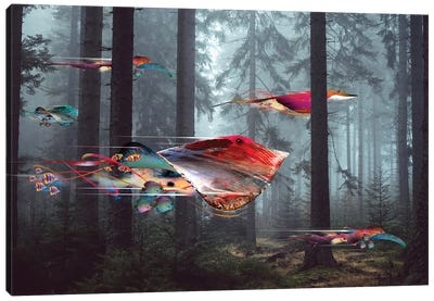 Electric Stingray Forest Canvas Art Print