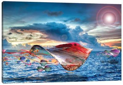 Flying Electric Stingrays Canvas Art Print