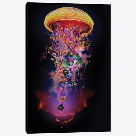 Hands With Electric Jellyfish Canvas Print #DLB71} by David Loblaw Canvas Artwork