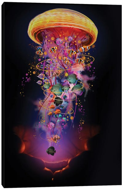 Hands With Electric Jellyfish Canvas Art Print