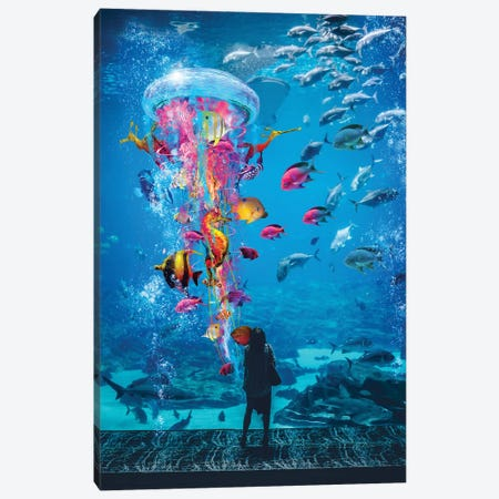 Super Jellyfish In Aquarium Tank Canvas Print #DLB74} by David Loblaw Canvas Print