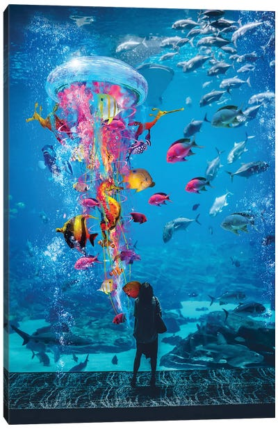 Super Jellyfish In Aquarium Tank Canvas Art Print