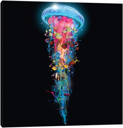 Super Electric Jellyfish World Wide Canvas Art Print