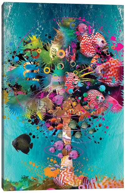 Surfing Palm Canvas Art Print