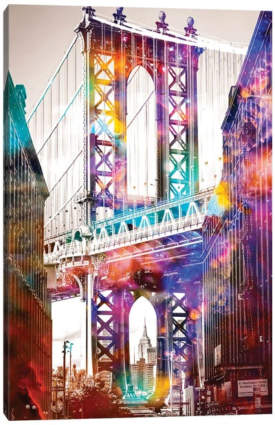 Time Travel At The Brooklyn Bridge Canvas Art Print