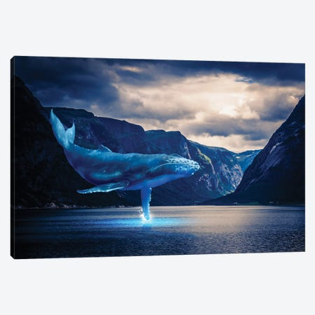 Whale Watching Lake Mountains Canvas Print #DLB98} by David Loblaw Canvas Artwork
