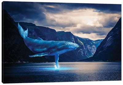 Whale Watching Lake Mountains Canvas Art Print