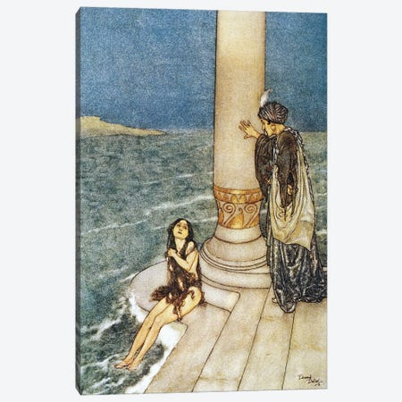 Little Mermaid: Just In front Of Her Stood The Handsome Young Prince 3-Piece Canvas #DLC30} by Edmund Dulac Canvas Print
