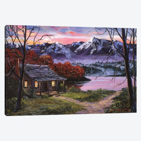 My Lake Cabin Canvas Print #DLG118} by David Lloyd Glover Canvas Print