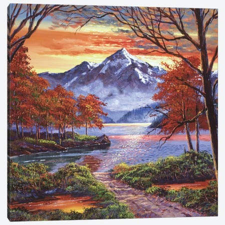 Path To The Shimmering Lake Canvas Print #DLG138} by David Lloyd Glover Art Print
