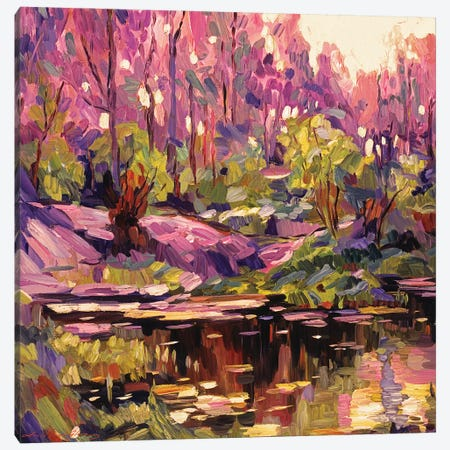 Pond At Sunset Plein Aire Canvas Print #DLG141} by David Lloyd Glover Canvas Artwork