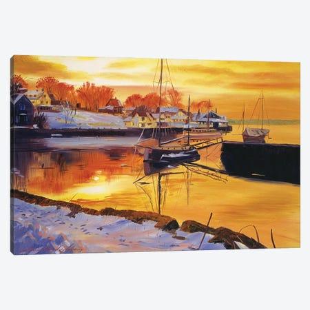 Snow Harbor Canvas Print #DLG163} by David Lloyd Glover Canvas Art