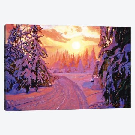 Soft Snow Sunrise Canvas Print #DLG170} by David Lloyd Glover Art Print