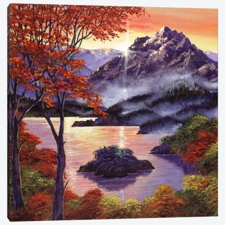 Sunset Over The Mountain Peak Canvas Print #DLG185} by David Lloyd Glover Canvas Art Print