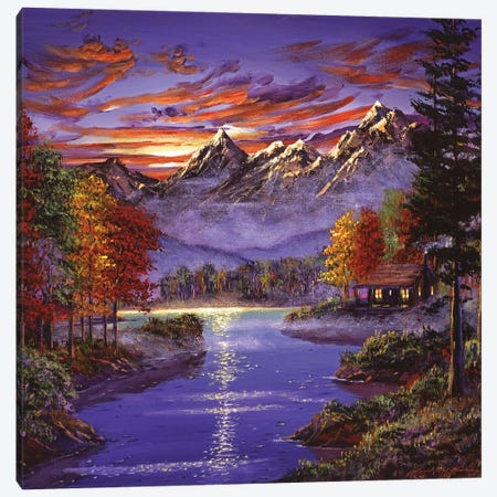 A Good Morning At The Cabin Canvas Print #DLG29} by David Lloyd Glover Canvas Wall Art