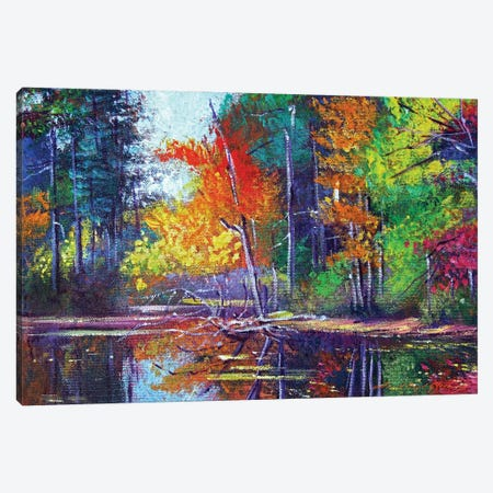 Autumn Reflects On The Pond Canvas Print #DLG49} by David Lloyd Glover Canvas Wall Art