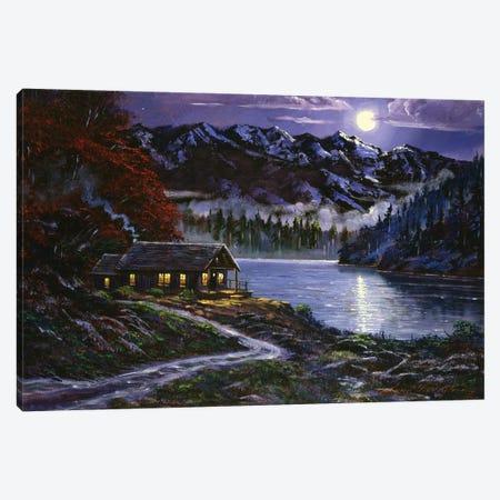 Moonlit Cabin Canvas Print #DLG4} by David Lloyd Glover Canvas Wall Art