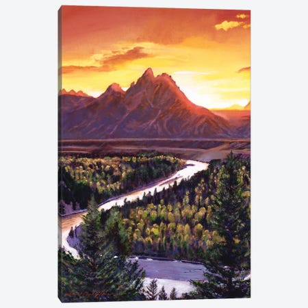 Sunset Over The Grand Tetons Canvas Print #DLG78} by David Lloyd Glover Canvas Print