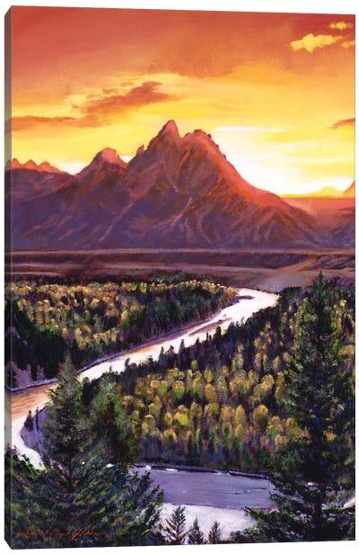 Sunset Over The Grand Tetons Canvas Art Print
