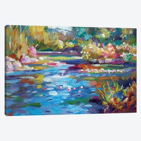 Flowers Reflecting In The Pond Canvas Print #DLG86} by David Lloyd Glover Art Print