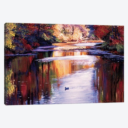 Gentle River In Autumn Canvas Print #DLG92} by David Lloyd Glover Canvas Print
