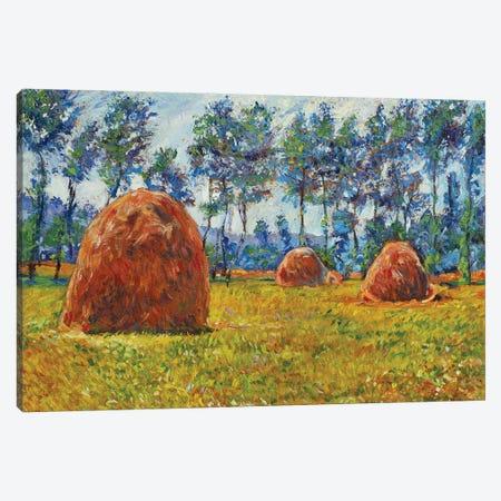 Haystacks Canvas Print #DLG98} by David Lloyd Glover Art Print