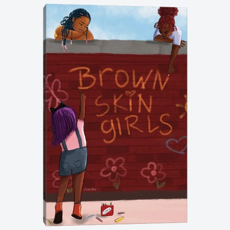 Brown Skin Girls Canvas Print #DLH62} by DeeLashee Artistry Canvas Art Print