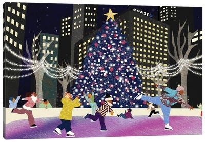 Christmas Eve In The City Canvas Art Print