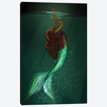 Black Girls Can Be Mermaids Too Canvas Print #DLH67} by DeeLashee Artistry Canvas Artwork
