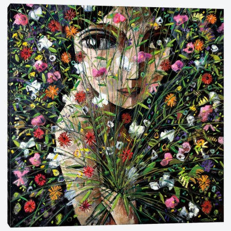 Between The Flowers 3-Piece Canvas #DLO1} by Didier Lourenco Canvas Print