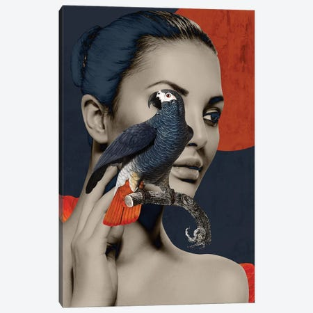 Woman Bird Diptych I Canvas Print #DLX154} by Danilo de Alexandria Art Print