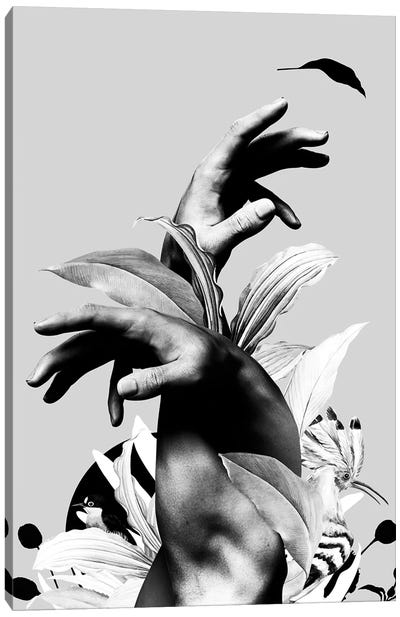 Hand With Flower In Black And White Canvas Art Print