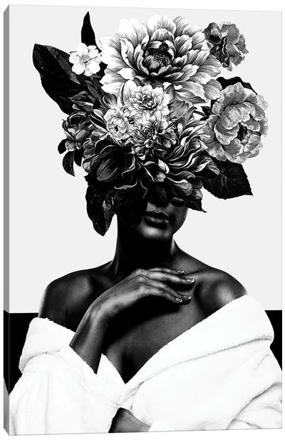 Woman With Flower II In Black And White Canvas Art Print