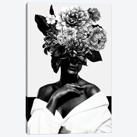 Woman With Flower II In Black And White Canvas Print #DLX174} by Danilo de Alexandria Canvas Print
