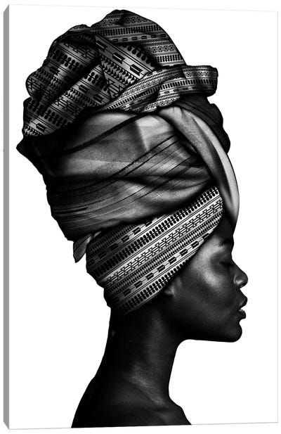 African Woman In Black And White Canvas Art Print