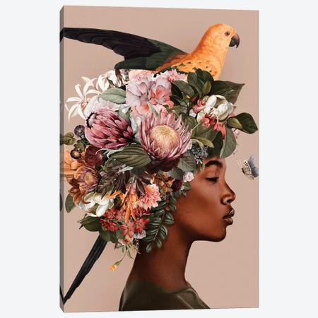 Woman And Flowers IV Canvas Print #DLX334} by Danilo de Alexandria Art Print